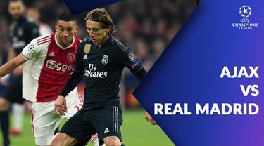 Berita video statistik Ajax vs Real Madrid pada leg pertama 16 besar Liga Champions 2018-2019, di Johan Cruijff ArenA, Amsterdam.