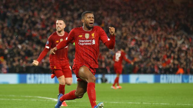 Gelandang Liverpool, Georginio Wijnaldum usai menjebol gawang Atletico Madrid