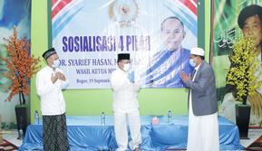 Sosialisasi Empat Pilar kerjasama MPR dengan Pondok Pesantren Riyadhul Anam Al-Arfah, Sindang Barang, Kota Bogor. (Foto:MPR)