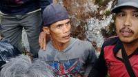 Eko Sumitro ditemukan selamat usai tersesat 3 hari di hutan Gunung Slamet, Banyumas. (Foto: Liputan6.com/Tagana Banyumas/Muhamad Ridlo)