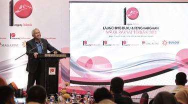 Wakil ketua DPR fraksi demokrat  Agus Hermanto memberikan sambutan dalam acara penghargaan wakil rakyat terbaik 2018 oleh Panggung Indonesia di Jakarta, Rabu (29/8).(Liputan6.com/ Faizal Fanani)