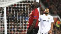 Striker Manchester United, Romelu Lukaku, tampak kecewa usai gagal membobol gawang Valencia pada laga Liga Champions di Stadion Old Trafford, Selasa (2/10/2018). Manchester United ditahan 0-0 oleh Valencia. (AP/Jon Super)