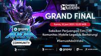 Live Streaming Grand Final GoPay Arena Level Up Community Mobile Legends di Vidio, Kamis 10 Juni 2021. (Sumber : dok. vidio.com)