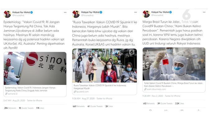 Twit tanggapan Hidayat Nur Wahid, yang mendapatkan ribuan respons, mengenai vaksin Covid-19