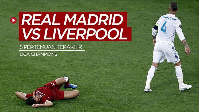Cover berita motion grafis 5 pertemuan terakhir Real Madrid dengan Liverpool di Liga Champions.