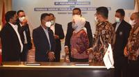 Penandatanganan Perjanjian Kerja Bersama PKB dilaksanakan di Ruang Exlounge, Gedung Utama Kantor Pusat Pertamina, Jakarta pada Selasa, 6 April 2021.