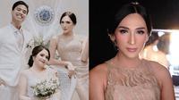Dena Rachman tampak memesona dengan gaun panjang di acara pernikahan adiknya. (Sumber: Instagram/@denarachman)