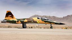 Gambar yang dirilis pada 21 Agustus 2018 menunjukkan pesawat jet tempur terbaru Iran buatan dalam negeri bernama Kowsar. Koswar merupakan pesawat tempur 100 % produksi dalam negeri yang dibuat untuk pertama kalinya. (AFP/IRANIAN DEFENCE MINISTRY/HO)