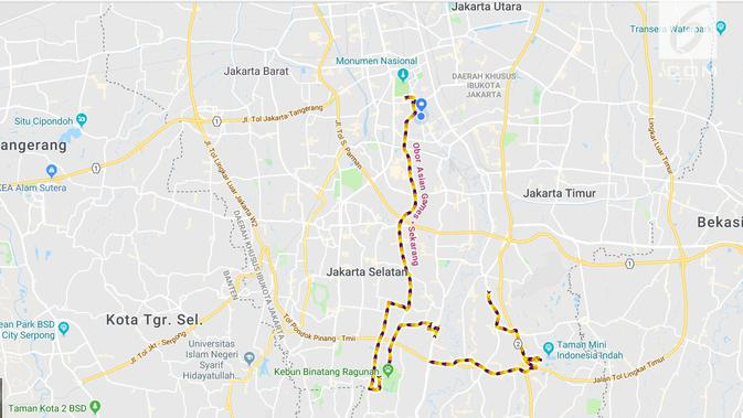 Jalur Kirap Obor di Google Maps (LIputan6.com/ Agustin Setyo W)