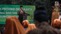 Gubernur DKI Jakarta Anies Baswedan memberi arahan saat melepas Kafilah Provinsi DKI Jakarta untuk mengikuti MTQ Tingkat Nasional XXVII, Jakarta, Kamis (4/10). MTQ Nasional XXVII digelar pada tanggal 4 hingga 13 Oktober 2018. (Liputan6.com/Faizal Fanani)