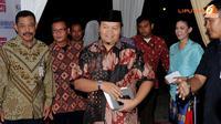 Mantan Presiden PKS Hidayat Nur Wahid mengatakan kepada wartawan menyerahkan sepenuhnya kepada Dewan Syuro PKS perihal siapa yang menjadi Capres dari PKS (Liputan6.com/Helmi Fithriansyah)