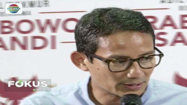 Sandiaga Uno hormati pilihan politik Yenny Wanid terhadap Joko Widodo-Ma'ruf Amin diPilpres 2019.