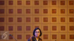 Menkeu Sri Mulyani Indrawati saat menghadiri penetapan nama Gedung Utama Kantor Pusat DJP, Jakarta, Kamis (19/1). Mar'ie Muhammad merupakan nama mantan Menkeu periode 1993-1998 di Kabinet Pembangunan VI Presiden Soeharto. (Liputan6.com/Immanuel Antonius)