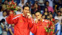 Sebelum Tontowi Ahmad/Liliyana Natsir meraih medali emas di Olimpiade 2016, Indonesia terakhir kali mendapatkannya melalui Markis Kido/Hendra Setiawan pada Olimpiade Beijing 2008. (AFP/Goh Chai Hin)