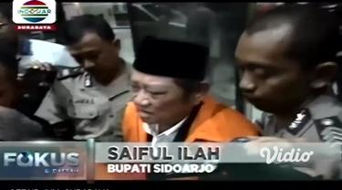 Tersangka kasus suap pengadaan proyek infrastruktur, Bupati Sidoarjo Saiful Ilah, ditahan di Rumah Tahanan Komisi Pemberantasan Korupsi (Rutan KPK), Kamis (9/1/2020).