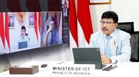 Pertemuan virtual antara Menkominfo Johnny G. Plate dengan Menteri Inovasi Teknologi dan Transisi Digital Italia, Vittorio Colao. (Foto: Kemkominfo)