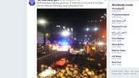 Kecelakaan tunggal terjadi di tol dalam kota Jakarta, Selasa (17/7/2018) pagi. (Twitter TMC Polda Metro Jaya)