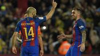 Javier Mascherano cetak gol perdana di Barcelona. (AFP/Lluis Gene)