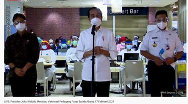 Jokowi, Menkes Budi Gunadi Sadikin, Anies Baswedan, Vaksinasi, Vaksinasi COVID-19, Pasar Tanah Abang