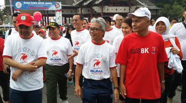 Direktur Utama Pertamina, Dwi Sotjipto menghadiri pesta rakyat yang digelar perseroan di Lapangan Purna MTQ Pekanbaru, Riau, Minggu (16/8/2015).