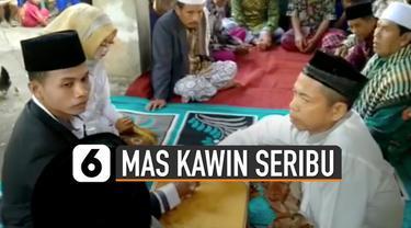 Beredar video unik pernikahan dengan mas kawin seribu rupiah. Kejadian ini terjadi di Lombok.