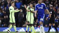 Pemain City merayakan kemenangan atas Chelsea (reuters)
