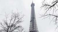 Suasana Menara Eiffel yang diselimuti salju di Paris, Prancis (7/2). Hujan salju yang sangat lebat membuat transportasi umum di paruh utara Prancis dan di Paris tidak dapat beroperasi. (AFP Photo / Thomas Samson)