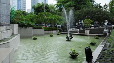 Tampilan kolam air mancur di kawasan DPRD DKI Jakarta, Jakarta, Rabu (22/11). Pemprov DKI Jakarta akan merenovasi air mancur tersaebut dengan anggaran sebesar Rp620 juta yang masuk dalam RAPBD 2018. (Liputan6.com/Helmi Fithriansyah)