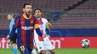 Lionel Messi. Striker Timnas Argentina ini telah mencetak 54 hattrick dengan rincian: 48 untuk Barcelona dan 6 untuk Timnas Argentina. (AFP/Lluis Gene)