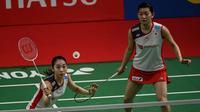 Ganda putri Jepang, Misaki Matsutomo/Ayaka Takahashi, menjadi juara di Indonesia Masters 2019 setelah mengalahkan wakil Korea Selatan. (AFP/Bay Ismoyo)
