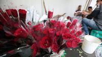 Pedagang menata bunga mawar di kawasan Rawa Belong, Jakarta Barat, Rabu (13/2). Rata-rata bunga mawar ini jual dengan kisara Rp5000 hingga Rp10.000 pertangkai bunga. (Liputan6.com/Johan Tallo)