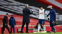 Manajer Tottenham Hotspur, Jose Mourinho, mengonfirmasi Son Heung-min mengalami cedera otot. (AFP/Dann Mulan)
