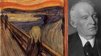 Lukisan The Scream (kiri) dan pelukis asal Norwegia Edvard Munch (kanan). (source: www.edvardmunch.org)