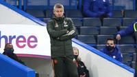 Manajer Manchester United atau MU Ole Gunnar Solskjaer dalam laga kontra Chelsea pada lanjutan Liga Inggris di Stamford Bridge, Minggu (28/2/2021). (AP Photo/Ian Walton, Pool)