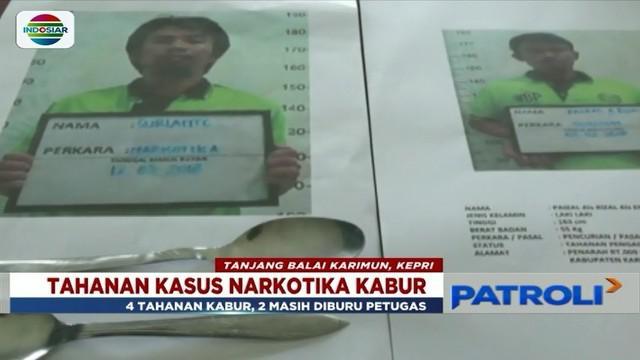 Empat tahanan kasus narkotika kabur dari Rutan Kelas II Tanjungbalai Karimun, Kepulauan Riau. Dua di antaranya berhasil ditangkap.