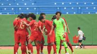 Timnas Indonesia U-18 Vs Malaysia pada babak semifinal Piala AFF U-18 2018 di Go Dau Stadium, Sabtu (17/8/2019). (PSSI).
