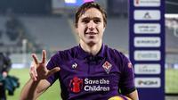 6. Federico Chiesa (Fiorentina) - Pemain 21 tahun itu tampil impresif di Liga Italia Serie A musim ini. Ia sudah mengemas 12 gol dan delapan assist untuk timnya musim ini di seluruh kompetisi. (AFP/ Isabella Bonotto)