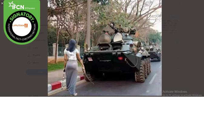 Klaim Foto Wanita Pegang Pedang Menantang Tank Militer Myanmar