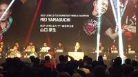 Petarung ONE Chammpionship asal Jepang, Mei Yamaguchi dalam jumpa pers di Tokyo, Kamis (28/3). (Edu Krisnadefa)