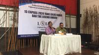 Peneliti LSI Rully Akbar saat memaparkan 15 nama yang berpotensi masuk di bursa Pilpres 2019. (Liputan6.com/Muhammad Radityo Priyasmoro)