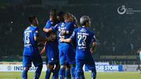 Para pemain Persib saat berselebrai merayakan gol. (Liga Indonesia)