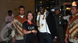 Kedatangan bintang Manchester United Dwight Yorke itu dalam rangka menjalani program Ayo Indonesia Bisa (Liputan6.com/Helmi Fithriansyah)
