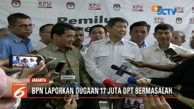 Tim BPN Prabowo-Sandi laporkan dugaan adanya 17 juta DPT bermasalah pada KPU.