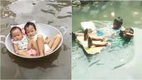 Kelakuan kocak anak saat banjir (Sumber: Instagram/halewwww)