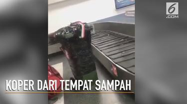 Unik, sebuah koper terbuat dari tempat sampah menarik perhatian penumpang di bandara.