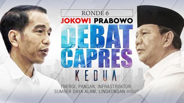 Debat kedua Pilpres 2019 sesi keenam dengan tema Energi, Pangan, Infrastruktur, Sumber Daya Alam, dan Lingkungan Hidup berlangsung di Hotel Sultan, Jakarta.