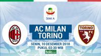 Jadwal Serie A 2018-2019 pekan ke-15, AC Milan vs Torino. (Bola.com/Dody Iryawan)