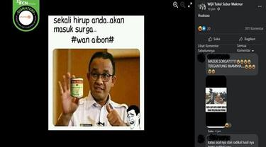 Gambar Tangkapan Layar Foto yang Diklaim Anies Baswedan Sedang Memamerkan Lem Aibon (sumber: Facebook)