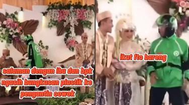 Viral Video Ojol Antar Pesanan di Pesta Penikahan Ini Kocak