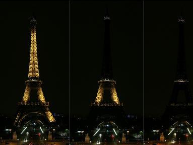 Kombinasi gambar c menunjukkan landmark kota Paris, Menara Eiffel saat lampu dimatikan untuk menghormati para korban serangan di sinagog, tempat peribadatan pemeluk Yahudi, di Pittsburgh, Pennsylvania. (Zakaria ABDELKAFI/AFP)